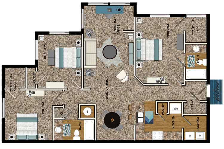 Apartment floor plans pricing west eleven in atlanta ga for 2 bedroom apartments in georgia