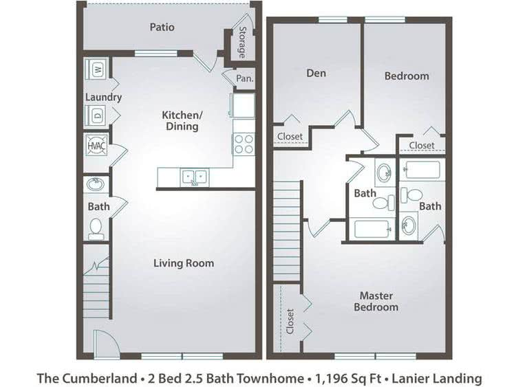 2D | The Cumberland contains 2 bedrooms and 2.5 bathrooms in 1196 square feet of living space.