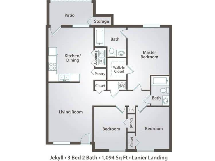 2D | The Jekyll contains 3 bedrooms and 2 bathrooms in 1094 square feet of living space.
