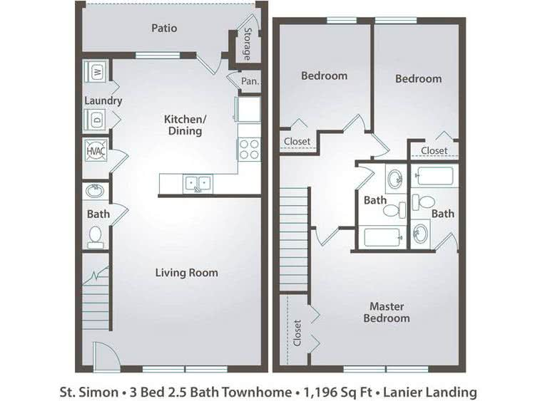 2D | The St. Simon contains 3 bedrooms and 2.5 bathrooms in 1196 square feet of living space.