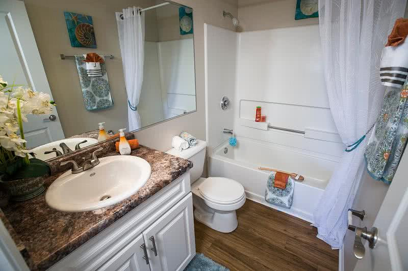 Bathroom | Spacious bathroom with extra storage space in the vanity.