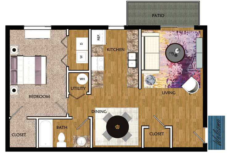 2D | The Boulevard contains 1 bedroom and 1 bathroom in 700 square feet of living space.