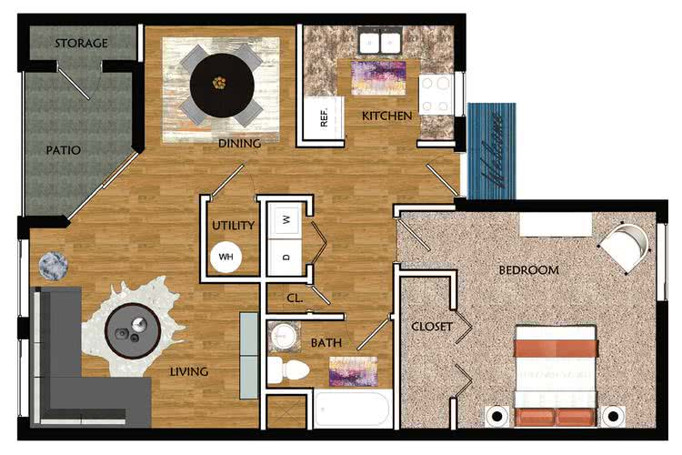 2D | The Clairmont contains 1 bedroom and 1 bathroom in 710 square feet of living space.
