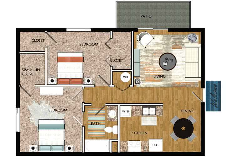 2D | The Highland contains 2 bedrooms and 1 bathrooms in 840 square feet of living space.
