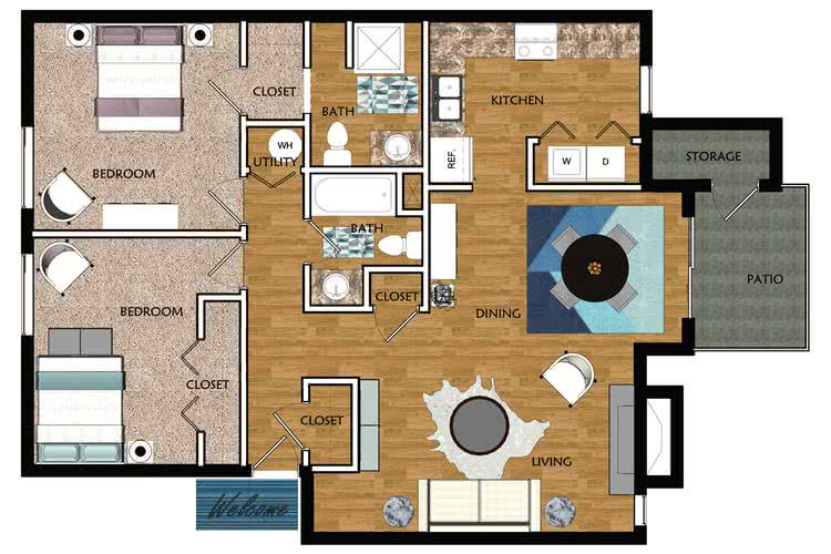 2D | The Peachtree contains 2 bedrooms and 2 bathrooms in 1034 square feet of living space.