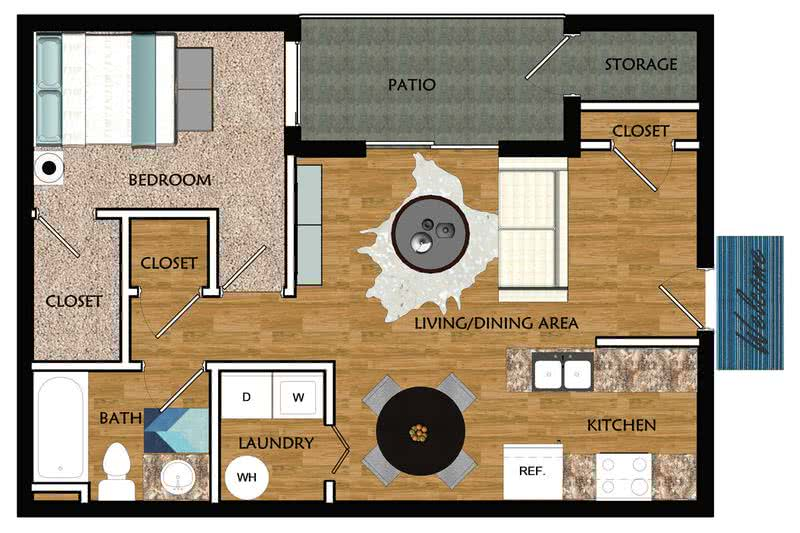 2D | The Piedmont contains 1 bedroom and 1 bathroom in 555 square feet of living space.