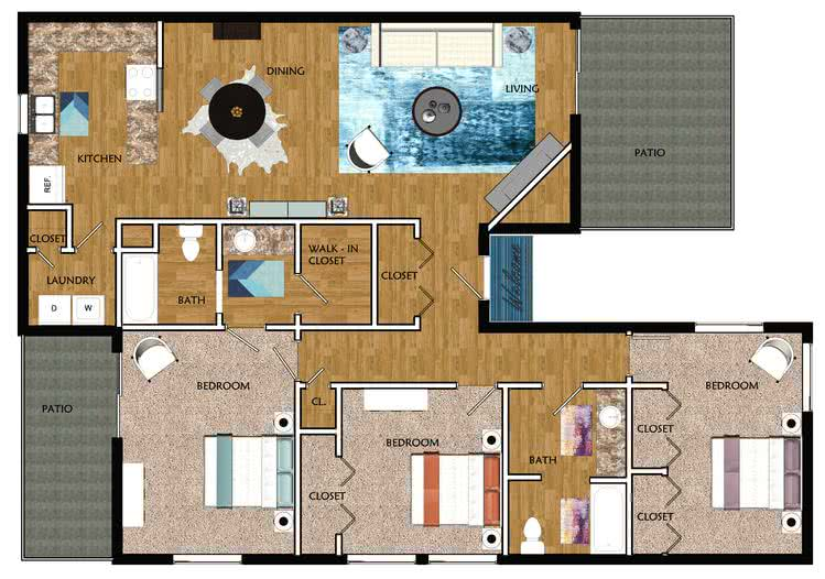 2D | The Spalding contains 3 bedrooms and 2 bathrooms in 1524 square feet of living space.