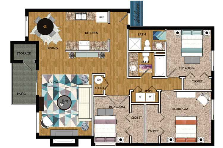 2D | The Ponce De Leon contains 3 bedrooms and 2 bathrooms in 1200 square feet of living space.