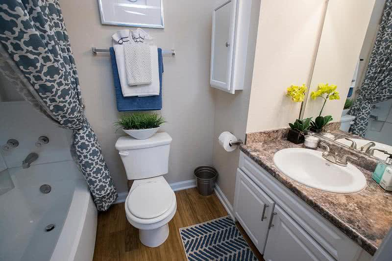 Bathroom | Renovated bathrooms with granite style counter tops.
