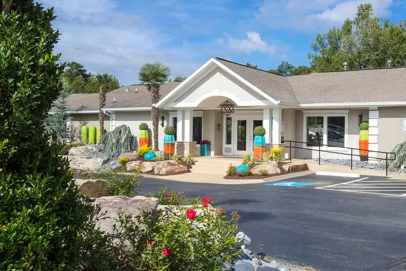 Clubhouse Exterior | Resident clubhouse featuring a 24-hour fitness center and more!