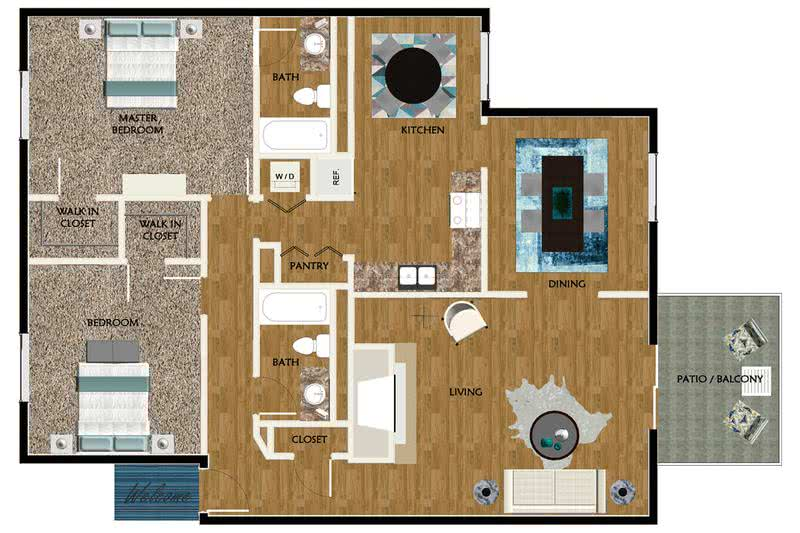 2D | The Cabin contains 2 bedrooms and 2 bathrooms in 1308 square feet of living space.