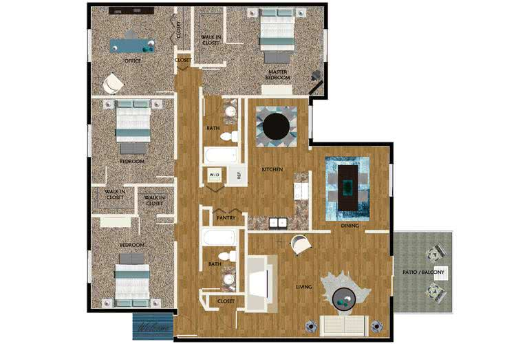 2D | The Lodge contains 4 bedrooms and 2 bathrooms in 1657 square feet of living space.