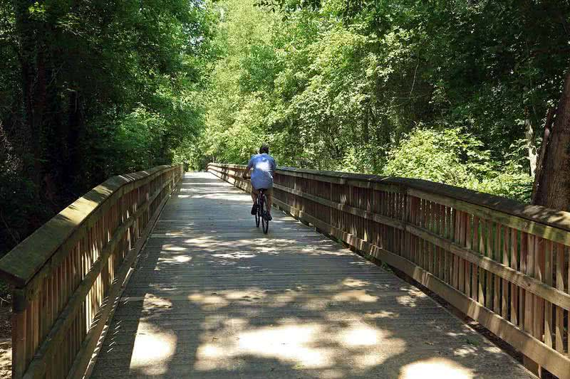 Biking & Walking Trails | Outdoors enthusiasts enjoy direct access to the Chattahoochee River recreational area.
