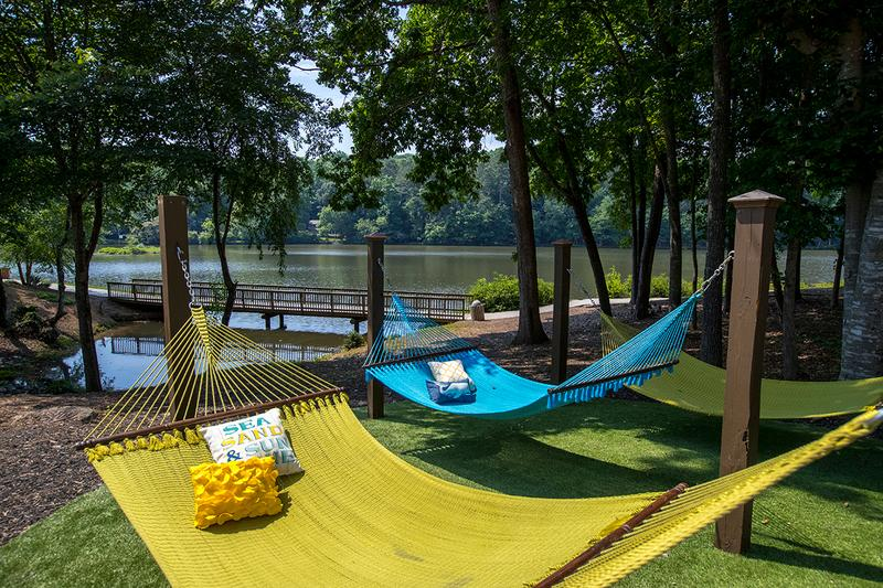 Hammock Garden | Relax by the lake in our hammock garden.