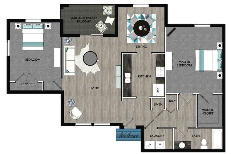 2D |  The Dogwood contains 2 bedrooms and 1 bathrooms in 1015 square feet of living space.