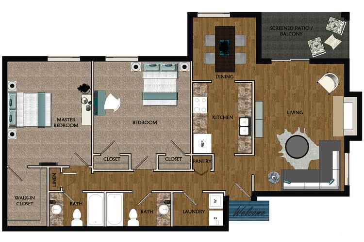 2D | The Iris contains 2 bedrooms and 2 bathrooms in 1142 square feet of living space.