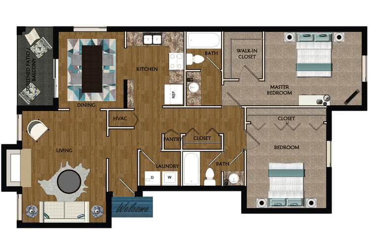 2D | The Laurel contains 2 bedrooms and 2 bathrooms in 1350 square feet of living space.