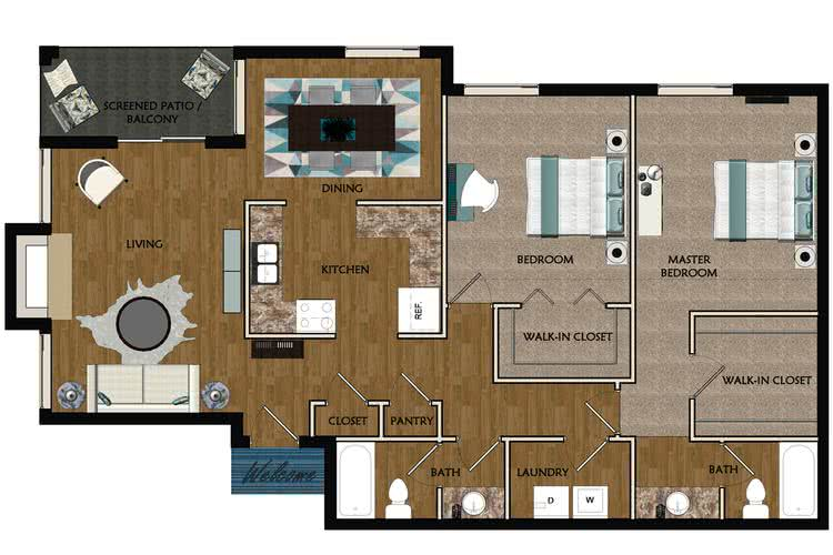 2D | The Lily contains 2 bedrooms and 2 bathrooms in 1350 square feet of living space.