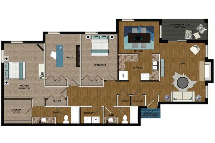 2D | The Magnolia contains 3 bedrooms and 2 bathrooms in 1530 square feet of living space.