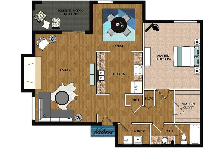 2D | The Heather contains 1 bedroom and 1 bathroom in 854 square feet of living space.