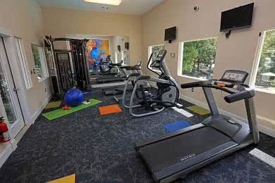 24-Hour Fitness Center | Lose that gym membership and use our controlled access fitness center which is open 24 hours for your convenience.