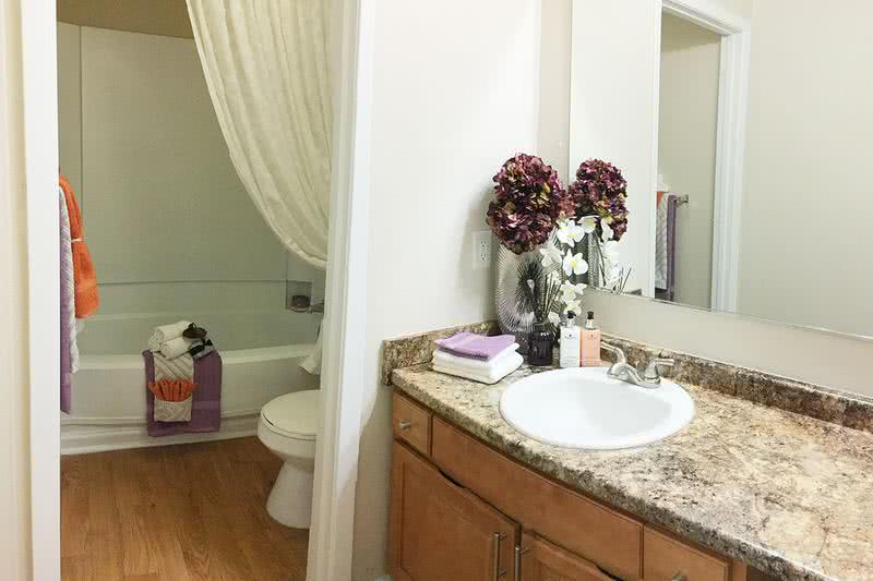 Bathroom | Spacious bathrooms featuring oversized vanities, large mirrors, and wood-style flooring.