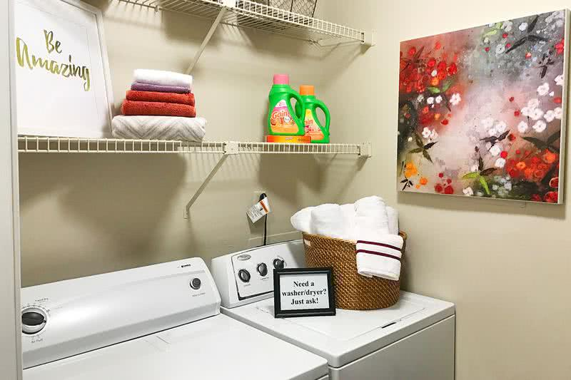 Washer and Dryer | All of our floor plans include full size side by side state-of-the-art washer/dryers.