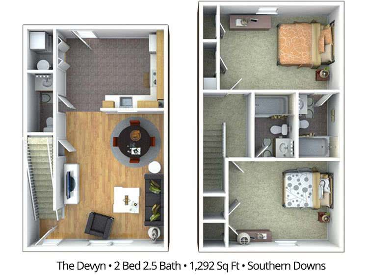 2D | The Devyn contains 2 bedrooms and 2.5 bathrooms in 1292 square feet of living space.