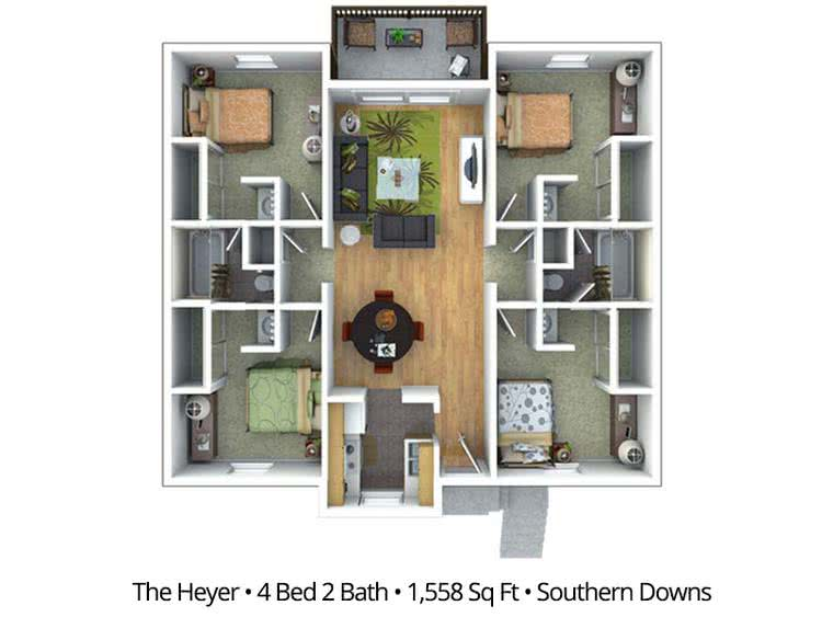 2D |  The Heyer contains 4 bedrooms and 2 bathrooms in 390 square feet of living space.