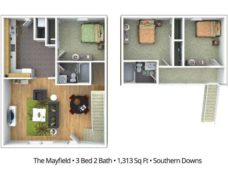 2D | The Mayfield contains 3 bedrooms and 2 bathrooms in 1313 square feet of living space.
