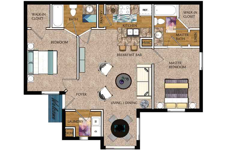 2D | The Luxe contains 2 bedrooms and 2 bathrooms in 962 square feet of living space.