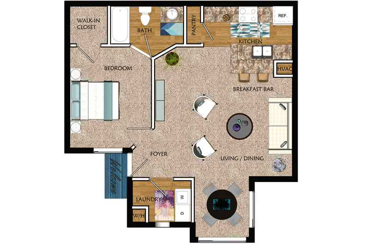 2D | The Vue contains 1 bedroom and 1 bathroom in 730 square feet of living space.