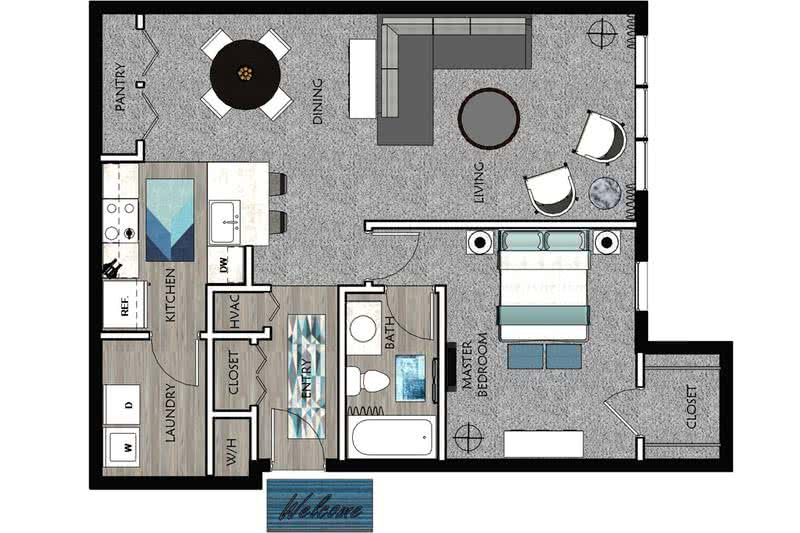 2D |  The Alexander contains 1 bedroom and 1 bathroom in 809 square feet of living space.