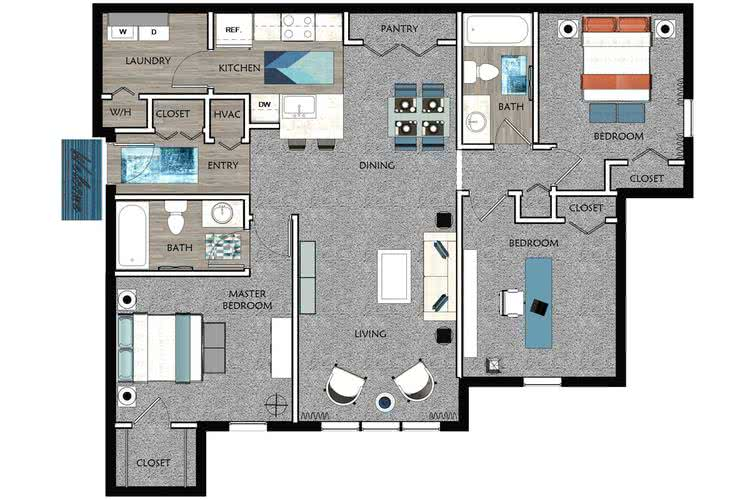 2D |  The Cambridge contains 3 bedrooms and 2 bathrooms in 1197 square feet of living space.