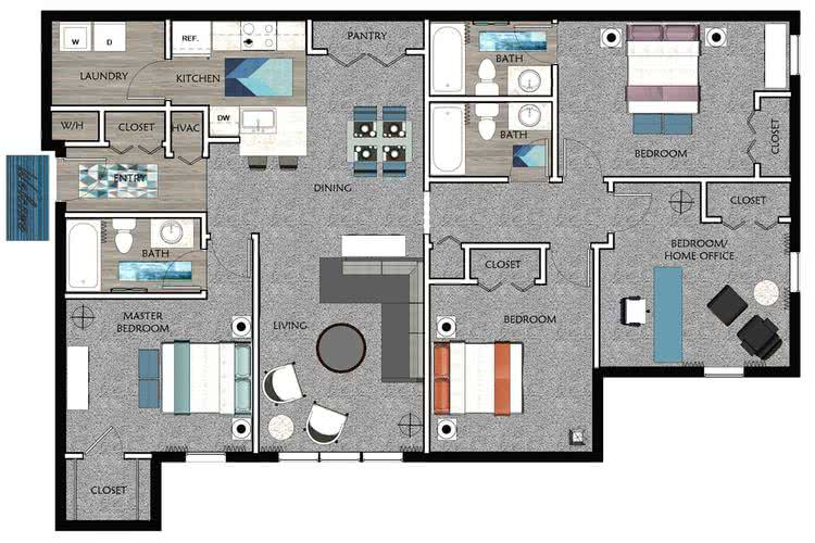 2D |  The Douglas contains 4 bedrooms and 3 bathrooms in 1448 square feet of living space.
