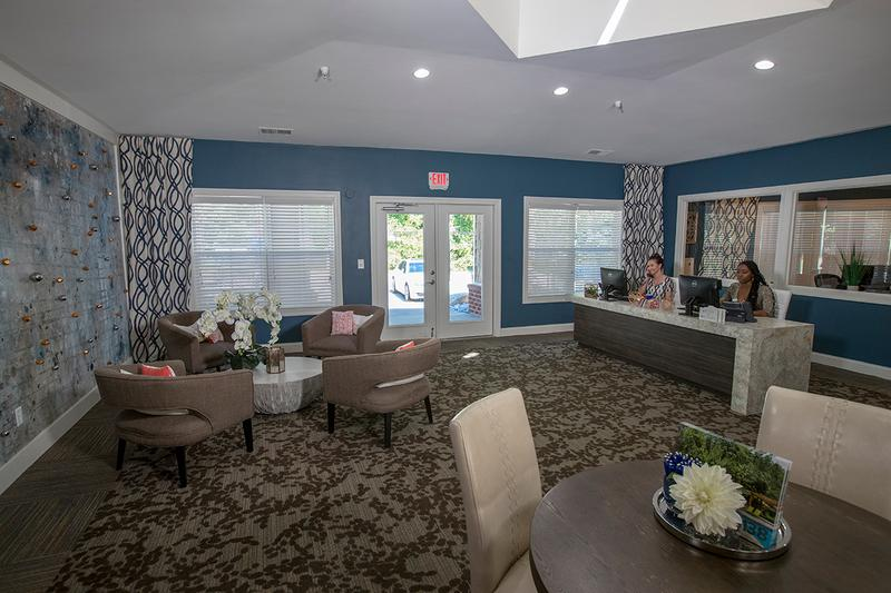 Office Interior | Come on into the leasing office for some complimentary coffee or just to say hello! Our friendly leasing staff is waiting to help you find your new home!