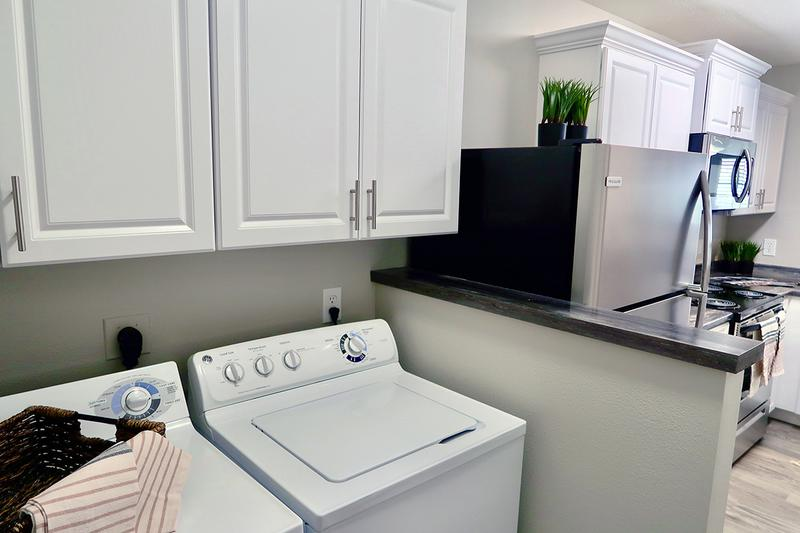 Full Size Washer & Dryers | Your apartment home includes a full size washer and dryer for your convenience.