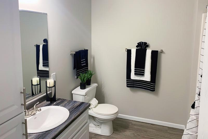 Bathroom | Newly renovated bathrooms featuring wood-style flooring, black fusion countertops, and large mirrors.