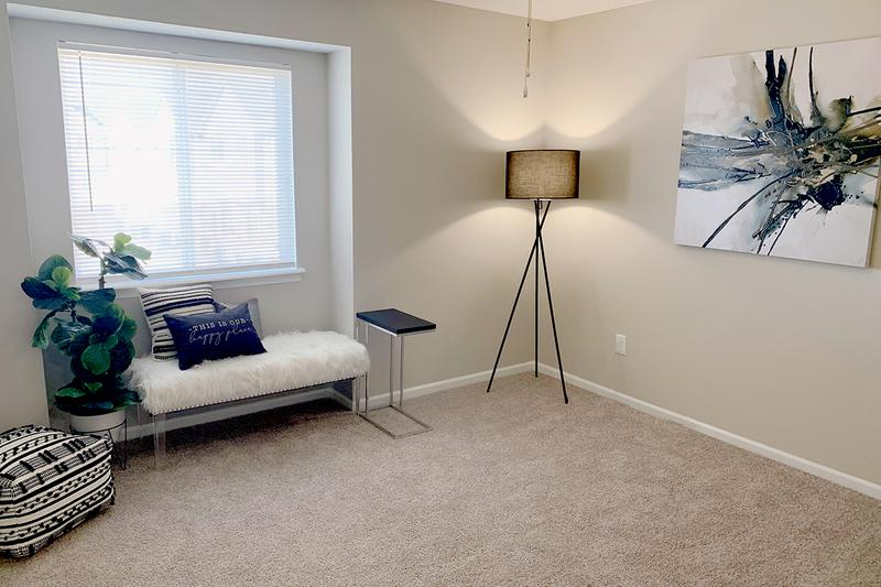 Bedroom | Spacious bedrooms featuring plush carpeting and spacious closets.