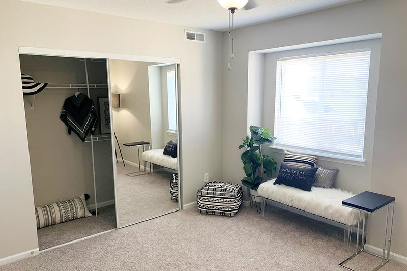Spacious Closets | Bedrooms featuring spacious, sliding glass door closets.