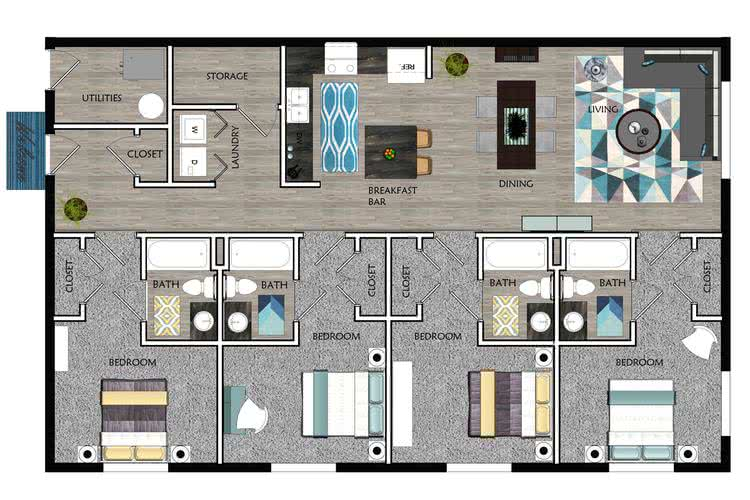 2D | The Notch contains 4 bedrooms and 4 bathrooms in 1716 square feet of living space.