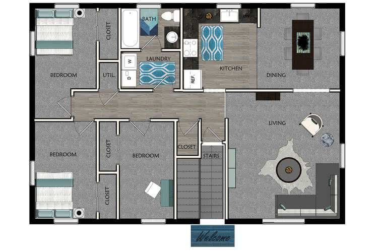 2D | The Pioneer contains 3 bedrooms and 1 bathrooms in 1200 square feet of living space.