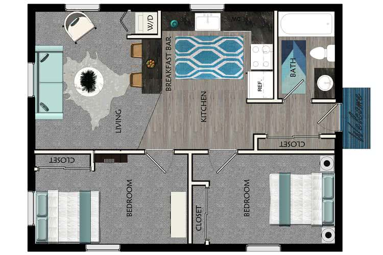 2D | The Valley contains 2 bedrooms and 1 bathrooms in 650 square feet of living space.