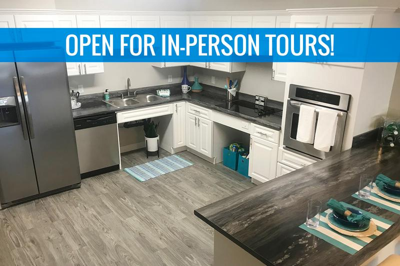 4x4 Kitchen | Our spacious kitchen comes fully applianced in stainless steel, and offers ample cabinet space. We are excited to offer in-person tours while following social distancing and we encourage all visitors to wear a face covering.