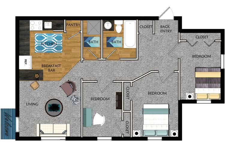 2D | The Alma Mater contains 3 bedrooms and 1.5 bathrooms in 800 square feet of living space.