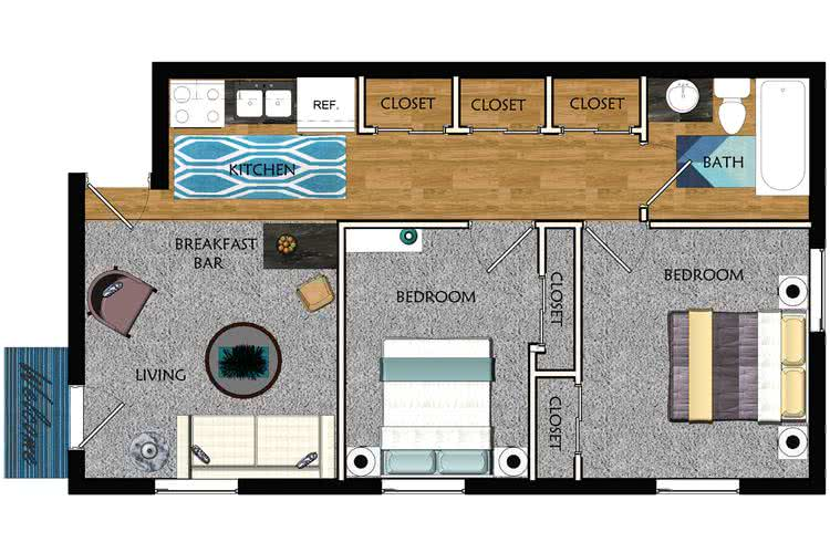 2D | The Collegiate contains 2 bedrooms and 1 bathrooms in 600 square feet of living space.