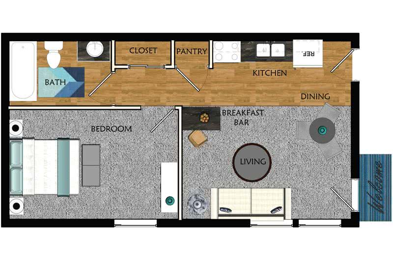 2D | The Dickenson contains 1 bedroom and 1 bathroom in 500 square feet of living space.