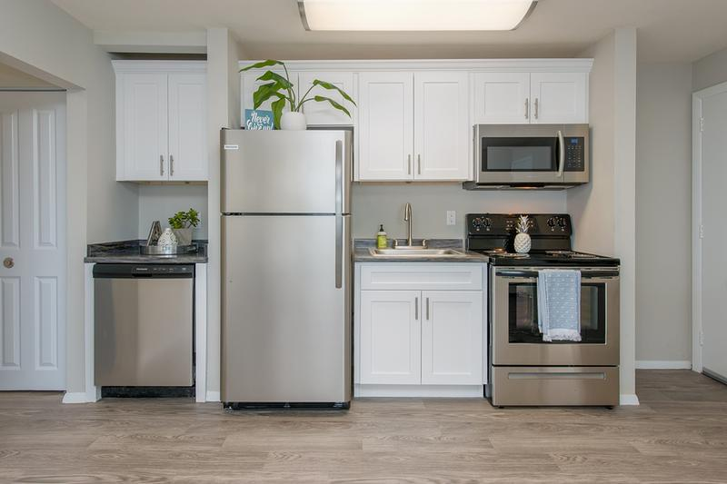 Stainless Steel Appliances | Remodeled apartments features stainless steel appliances.