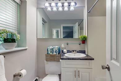 Updated Bathrooms | Newly renovated bathrooms featuring wood-style flooring, black fusion countertops, and large mirrors.