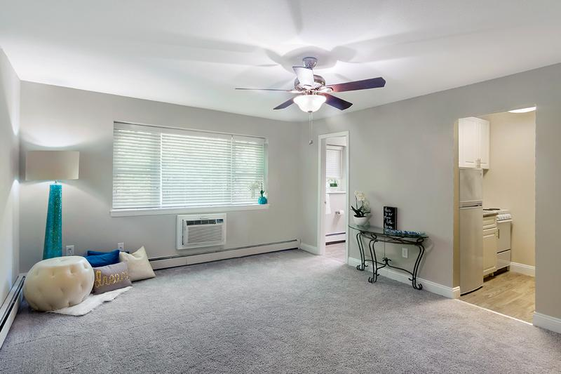 Spacious Open Layouts | Spacious open floor plans featuring plush carpeting or wood-style flooring and a ceiling fan.